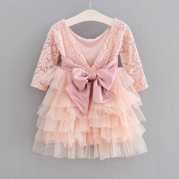 Girls Dress 2020 New Lace Tulle Cake Girls Summer Dress 2020 Lace Long-Sleeve Gown Princess Dress Kids Dresses For Girls