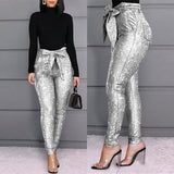 Glitter Bow Tied Pants 2020 Sequins Belted Skinny Pants Women Bow Tied High Waist Pockets Sequin Pants 2020 Design Pencil Pants Party Clubwear