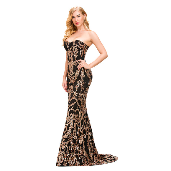 Gold Sequined Strapless Maxi Dresses Silver Sexy Party Dress Backless Strapless Bodycon Stretchy Evening Mermaid Dress