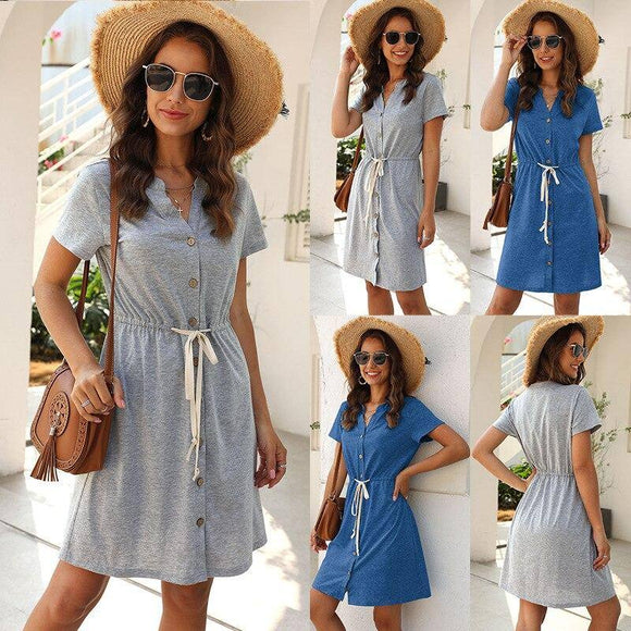 New Summer Women V-Neck Short Sleeve Slim A-Line Dress 2020 Fashion Casual Mini Sashes Dress 2020 Female Solid Button Dress 2020 Cotton