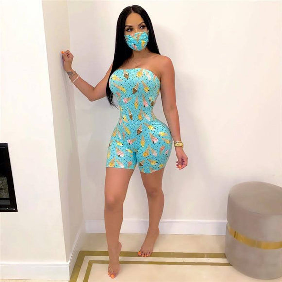2020 Strapless Off Shoulder Bodycon Jumpsuit Sexy Women Bodysuit Shorts Romper Print Leotard Sleeveless Print Button Bodysuit