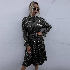 Vintage Dots Print Midi Dress 2020 With Sashes Women Stand Collar Long Sleeve Ruffles Draped Ladies Dress 2020 New Arrival