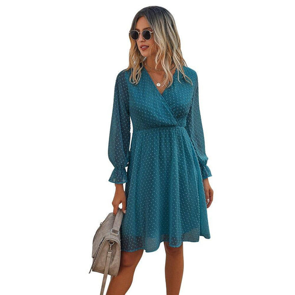 Autumn Polka Dot Long Sleeve Midi Warp Dress 2020 V Neck Lace Casual Summer Dress 2020 For Women Black Blue Red Fashion Sundress D30