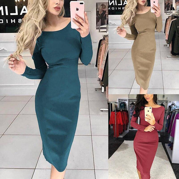 Fashion Casual Solid Color Long Sleeve Knee Length Bodyonc Dress 2020 Women Party Dress 2020 Long Sleeve Plus Size Winter Dress 2020