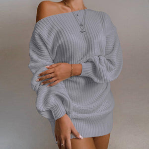 The Hottest Ladies Casual Off-Shoulder Lantern Sleeve Knitted Sweater Dress 2020