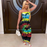 Off Shoulder Strapless Tie Dyeing Print Long Maxi Dress 2020 Party Sexy Women Ladies Summer Beach Bohemian Style Bodycon Dress 2020