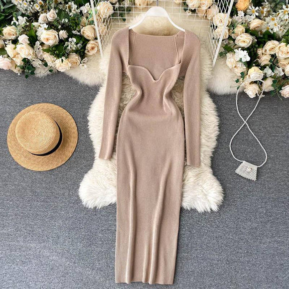 Dress 2020 For Women Sexy Strapless Ribbed Knitted Bodycon Dress 2020 Women Winter Long Sleeve Midi Sweater Dress 2020 Clothes