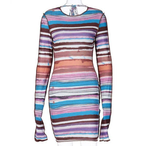 Chronstyle Rainbow Striped Backless Dress 2020 Bandage Sexy Autumn Women Long Sleeve Bodycon Outfits Party Club Streetwear Dress 2020