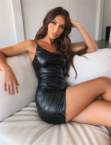 Sexy Women Pu Leather Stretch Bodycon Dress 2020 Clubwear New Summer Sleeveless Strap Dress 2020 Short Mini Pencil Black Party Dress 2020