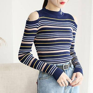 Shintimes Striped Pullovers Women Off Shoulder Sweater New Slim Sexy Knitted High Elastic Fall Winter Fashion Pull Femme
