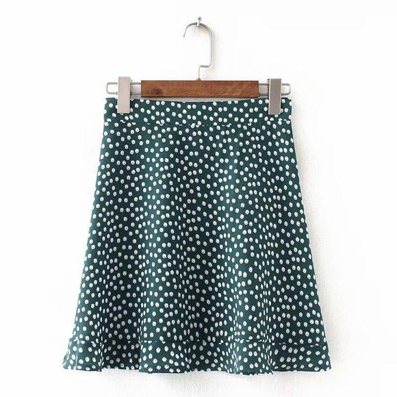 Sexy Skirt Women Dots Mini Skirt 2021 Green White Saia High Waistline Faldas Sexy Skirt 2021 Summer