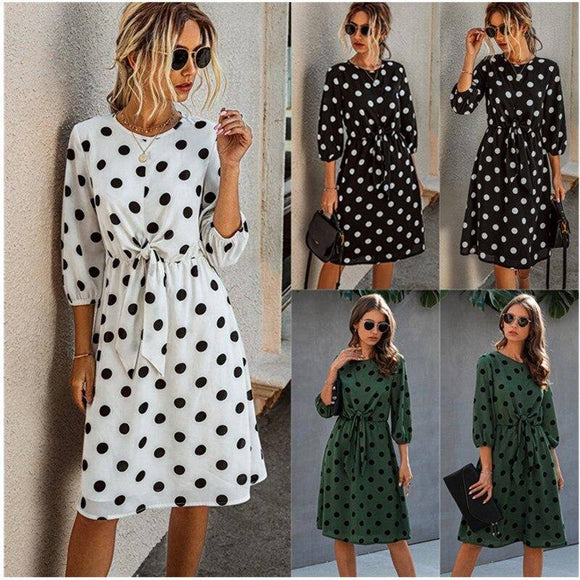 Summer Women O-Neck Three Quarter Sleeve Slim Sweet A-Line Dress 2020 Fashion Casual Sashes Dot Midi Dress 2020 Fitted Clothing Vestidos