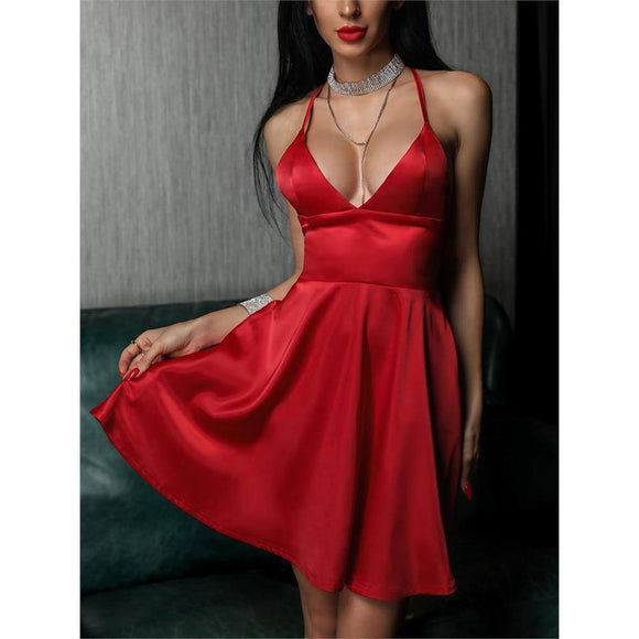Sexy Girls Red Dress 2020 Draped V Neck Women Sling Dress 2020 Spring Summer Solid Color A-Line Female Party Formal Dress 2020 New D30