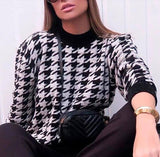 Women Casual Geometric Knitted Sweater Houndstooth Lady Pullover 2020 Sweater Khaki Black Female Autumn Winter Retro Jumper Pullover Sweater 2020</p>