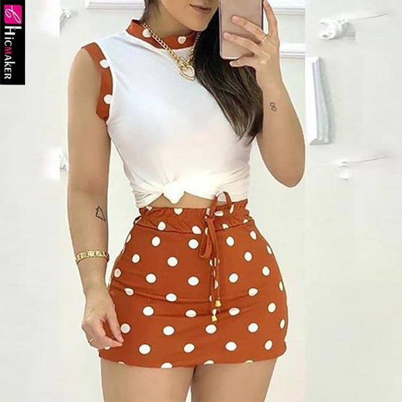 Women Polka Dots Casual Tank Top 2020 & Mini Skirt Set 2 Piece Outfits