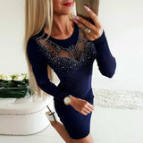 Bodycon Dress 2020 Women Diamonds Hollow Out Sexy Sweater Dress 2020 Autumn Winter Fashion Ladies Long Sleeve Slim Party Dress 2020 D30