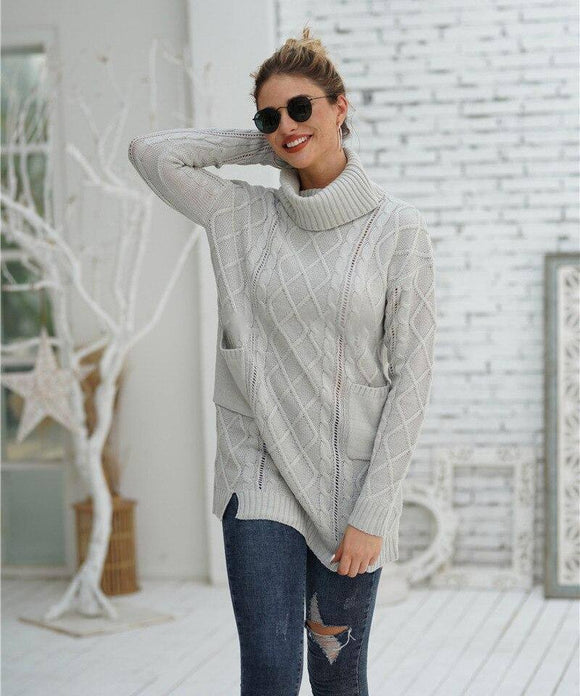 Pockets Twist Sweater 2020 Dress Female Pullover Knitwear Winter Clothing 2018 Fashion Slim White Long Women Sweater 2020 New