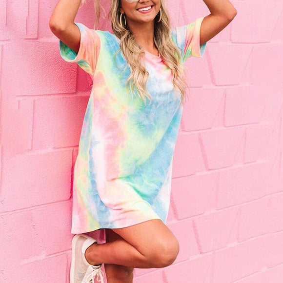 Summer Dress 2020 For Women Holiday Beach T-Shirt Fashion Pocket Sundress Tie Dye Printing O-Neck Ladies Dress 2020 Women'S
