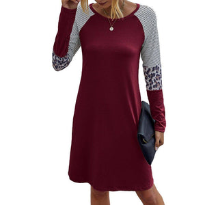 Solid O-Neck Long Sleeves Dress 2020 Women Casual Striped Patchwork Simple Dress 2020 Atumn Ladies Fashion Breathable Dress 2020 Vestidos D30
