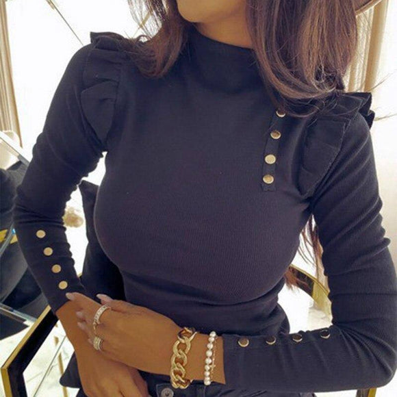 Kintted Casual Women 2020 Autumn Long Sleeve Sweaters Buttons Buffles Turtleneck Bodycon Lady Sweater Ribbed Red Outfits G2075
