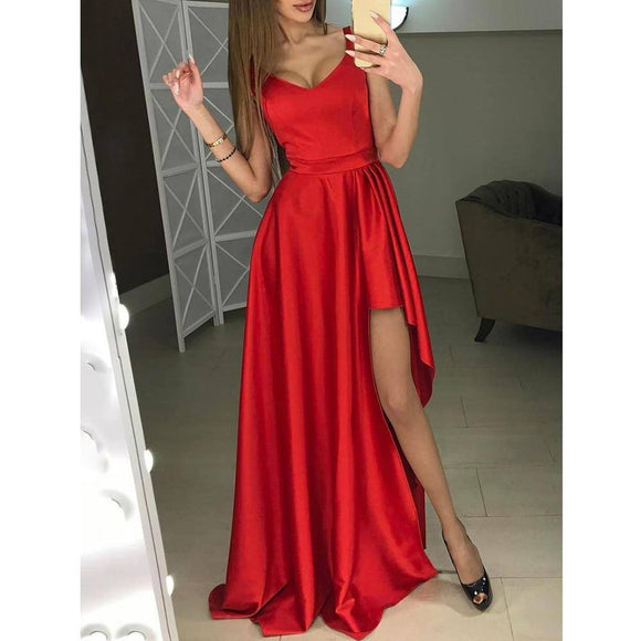 Wedding Ball Formal Dress 2020 Girls Sexy V Neck Floor-Length Slit Sling Dress 2020 Women Sleeveless Elegant Night Long Dress 2020 D30