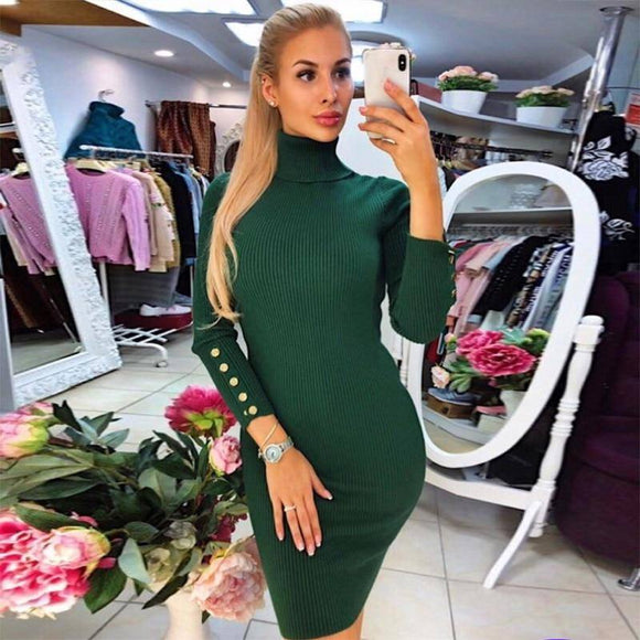 Winter Dress 2020 Women Turtleneck Sweater Dress 2020 Buttoned Long Sleeve Midi Knitted Bodycon Dress 2020 Elegant Womens Dress 2020 Clothing Robe