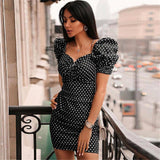 Vintage Slim Short Party Dress 2020 Women Polka Dot Bubble Short Sleeve Sexy Dress 2020