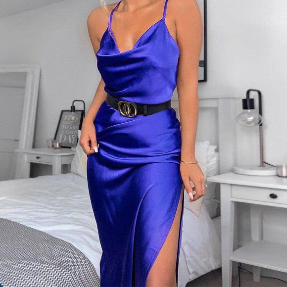 Satin Silk Women Midi Dress 2021 Strap Side Slit Backless Sexy Streetwear Autumn Winter Party Clothes Elegant Dinner
