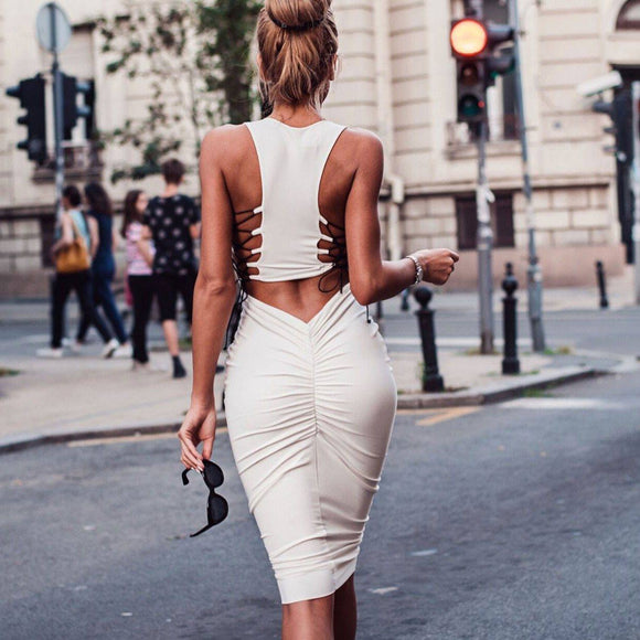 Women'S Summer Sexy Backless Dress 2020 Sleeveless Round Neck Tummy Control Lace-Up Bandage Clothes Mini Dress 2020 Party Club Dress 2020