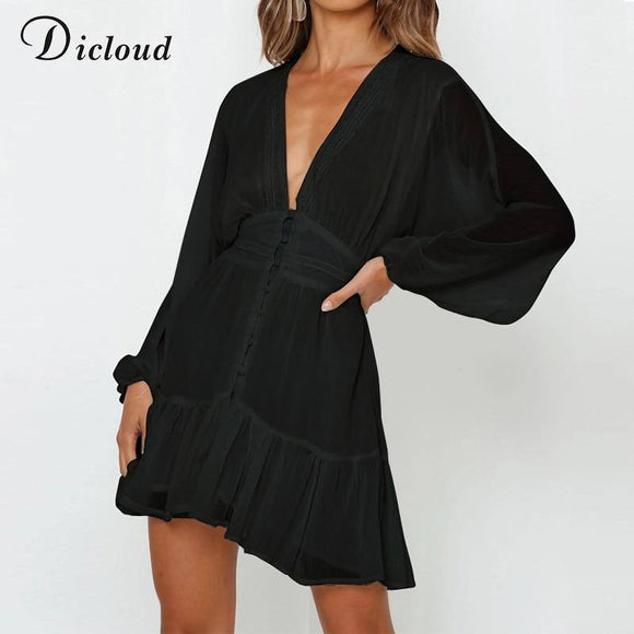 Sexy Lace Party Dress 2020 Black Women Long Sleeve A Line V Neck Autumn Dress 2020 Ruffle Detal Day Dress 2020 Ladies Clothes