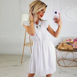 Casual Summer Women White Dress 2020 Loose Sexy Sleeveless Dot Beach Dress 2020 Women Clothes High Waist Ladies Club Dress 2020 Vestidos