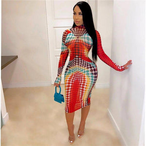 Chronstyle Fall Women Wrapped Dress 2020 Streetwear Midi High-Cut Turtleneck Long Sleeve Dot Printed Women Dress 2020 Bodycon Fall