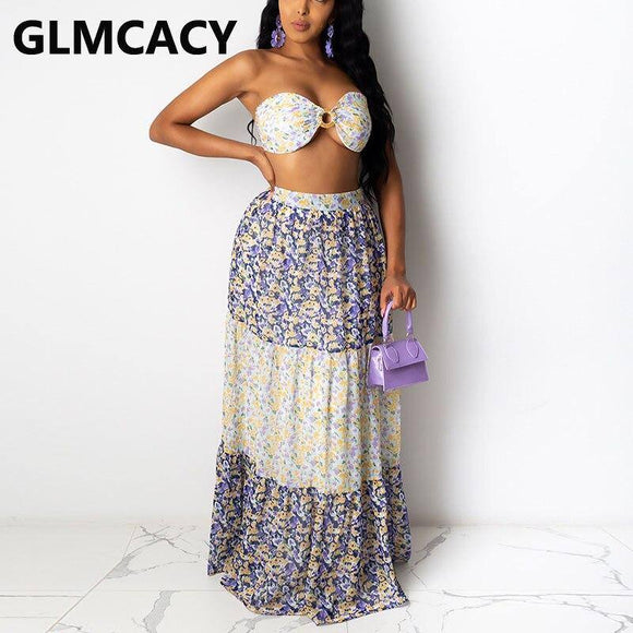 Sexy Skirt Women Two Piece Summer Beachwear Strapless Tube Top And Maxi Skirt 2021 Set