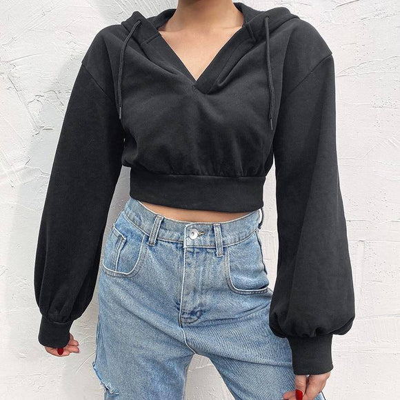 Long Sleeve Crop Top 2021  V Neck Drawstring Hoodies Women Sexy Exposed Navel Hoodies Autumn Long Sleeve Solid Loose Fit Sweatshirts Crop Top 2021