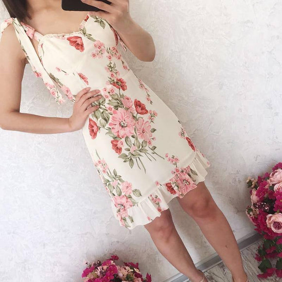 Summer Women'S Dress 2020 Casual Flower Print Ruffle Trim Slim Sling Beach Dress 2020