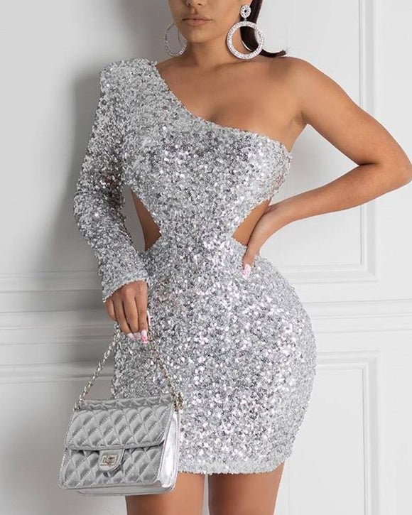 Sexy Cutout Silver Sequined One Shoulder Sequin Dress 2020 Vestidos De Inverno