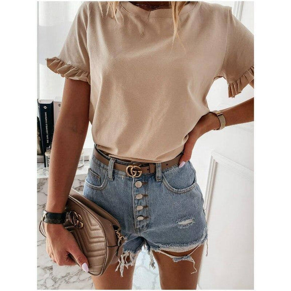 Summer Lady Tee Shirt Short Sleeve Casual Women Solid Ruffles T Shirt Loose Ladies tshirt Plus Size S-2XL