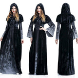 Halloween Party Woman Dress 2020 Witch Cosplay Skull Print Black Dress 2020 For Women Winter Long Sleeve Maxi Dress 2020 Fall Robe Femme D30