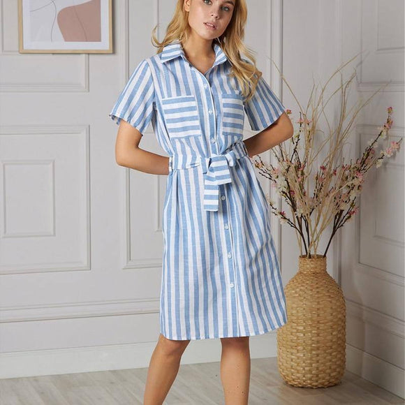 Shyloli Vintage Sashes Striped Straight Dress 2020 Women Turn-Down Collar Summer Dress 2020 Casual Pockets Knee Dress 2020 Vestidos