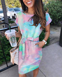 Tie Dyeing Print Women Dress 2020 Summer Short Sleeve O-Neck Beach Dress 2020 Lace-Up With Belt Short Mini Dress 2020 Vintage
