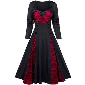 Gothic Skeleton Printed Dress 2020 Women Halloween Party Dress 2020 Winter Long Sleeve Button Dress 2020 Vintage Lace Patchwork Vestidos D30