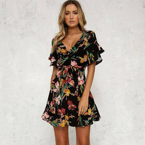 Women Boho Short Mini Dress 2021 Summer Floral Printed V-Neck Bow Knot Beachwear Sundress Ladies Short Sleeve Ruffles Loose Vestidos