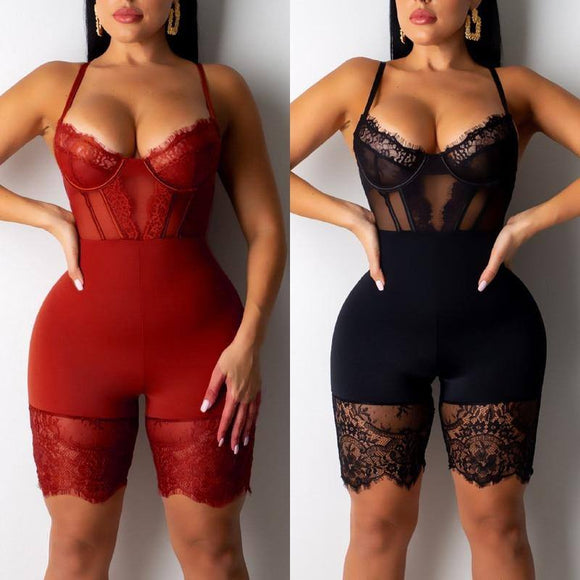 Women Mesh Lace V-Neck Lingerie Jumpsuit 2020 Underwear Bodysuit Ladies Party Clubwear Backless V-Neck Sexy Sleeveless Slim Leotard