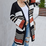 Women Winter Warm Clothes Long Sleeve Knitted Striped Cardigan Sweater 2020 Elegant Ladie Loose Knitwear Thick Coat Streetwear