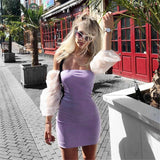 Sexy Mini Dress 2020 Tube Top Women'S Summer Mesh Sleeve Stitching Bodycon Knitted Dress 2020 Clubwear Slim Fit Elegant Vestidos