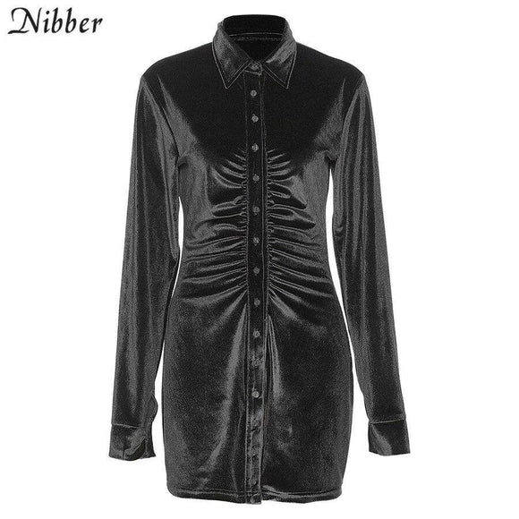 Nibber Autumn Stack Design Flannel Pleated Bodycon Dress 2020 For Women Enegant Party Street Casual Long Sleeve Mini Dress 2020 Female