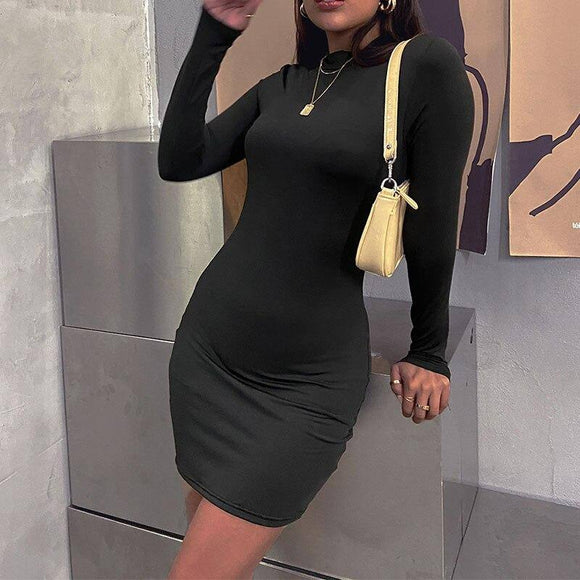 Cybill Pure Long Sleeve Autumn Mini Dress 2021 O Neck High Waist Black Bodycon Dress 2021 Winter Casual Short Dress 2021