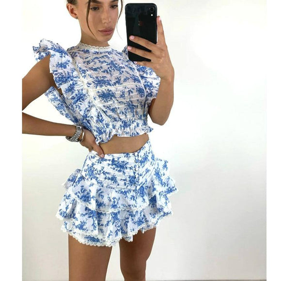 High Quality Sunday Set Elastic Waistband Cropped Top 2020 With Ruffle Detail And Cute Ruffle Mini Shorts Skirts