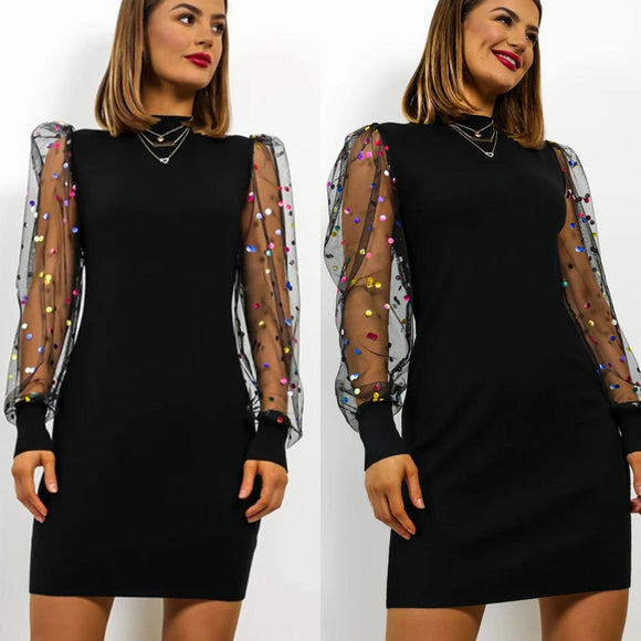 Sexy Dress 2020 Women Club Wear Bodycon Dress 2020 Casual Dot Printed Mesh Patchwork Turtleneck Long Sleeve Women Dress 2020