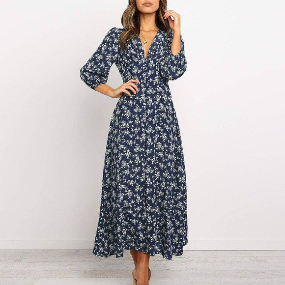 Ladies Single-Breasted Floral Printed Long Dress 2020 Women High Waist V-Neck Boho Style Chiffon Dress 2020 Beach Party Dress 2020 Vestidos